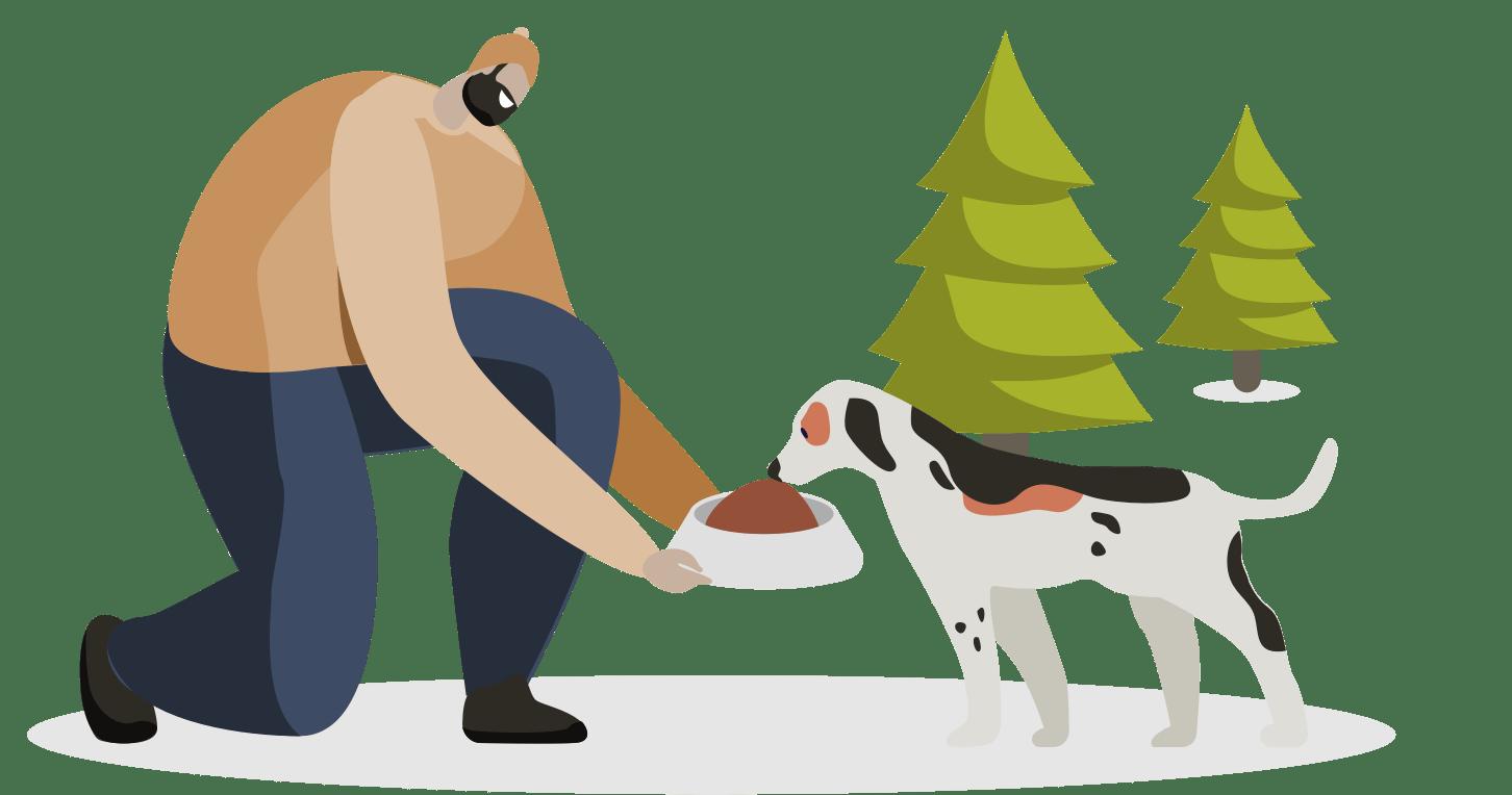 Illustratun d'un homme et d'un chien